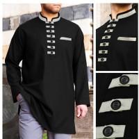 Baju Koko Akhtar Hitam dan Putih Muslim Pria Brand Distro Terbaru