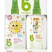 Babyganics Baby Sunscreen Spray 50 SPF and Bug Spray, 6oz each, Packag