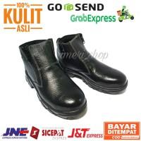 SEPATU Safety Boots Pria Kulit Asli Ujung Besi Baja Sefty Sepatu