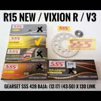 GEARSET/GIRSET/GIR SET SSS R15 V3 / VIXION V3 428 RANTAI SSS GOLD SB