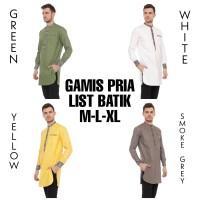 Baju Koko Pria Kurta Pakistan / Gamis Pria List Batik Modern - Green, M