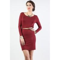Midi Dress / Wine Maroon Dress 74017T6MA - Bodytalk