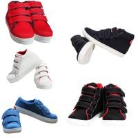 Sepatu Rekat Hitam Polos Velcro Kets Sekolah Anak Laki Perempuan Keren