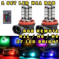 LAMPU LED FOGLAMP H11 / H8 / H9 RGB DENGAN REMOTE 27 TITIK ISI 2 PCS