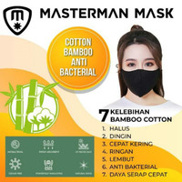Masker Kain Katun Bambu Anti Bacterial Tali Hitam Cotton Bamboo