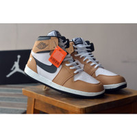 Sepatu Sneakers High Nike Air Jordan Retro Basket Termurah Tan Putih