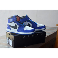 Sepatu Sneakers High Nike Air Jordan Retro Basket Termurah Biru Putih