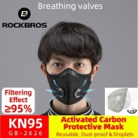 Rockbros masker n95 Carbon Activated 5 lapis Air Valve Anti Virus