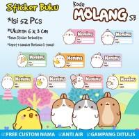 Stiker/Sticker/Label Buku Tulis Buku Pelajaran Anak Custom Molang