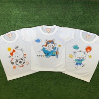 3 PCS Kaos Oblong Bayi Anak Unisex Print Cute Bear SUNFLOWER 1-2 TAHUN