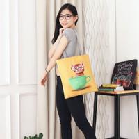 Women Tote Canvas Bag Kitty Cat Tas Wanita cewek perempuan Import