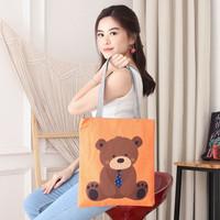Women Tote Canvas Bag Bear Tas Wanita bahu perempuan cewek Import