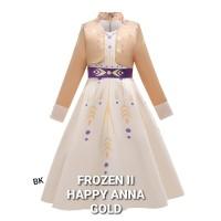 FROZEN 2 HAPPY ANNA DRESS GOLD baju anak perempuan pesta elsa II gaun - Size 150