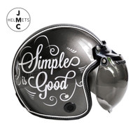 Helm Bogo Retro JMC Motif Simple Is Good Abu-Abu SNI