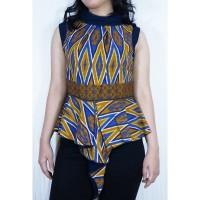 Batik Modern Blouse by Batik Migration - ORIGAMI T001 - 0006 NAVY