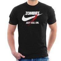 Kaos Zombies Just Kill Em Nike Logo T-shirt