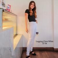 Legging Jeans Big Size Premium SYAKBOS Jegging Clara White Soft Jeans