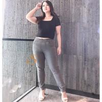 Legging Jeans Jumbo Big Size Premium SYAKBOS Jegging Clara Grey Soft J