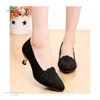 Sepatu Wanita High Heels Motif Glitter SP634 - Hitam, 37