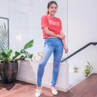 Legging Jeans Big Size Premium SYAKBOS Jegging Clara Ice Blue Soft Jea