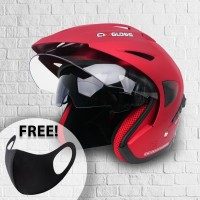 Helm Cargloss CDV CR Helm Half Face Double Visor - Majestic Red