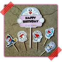 topper toper hiasan kue ulang tahun happy birthday karakter doraemon