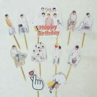 topper hiasan kue cake ulang tahun happy birthday karakter BTS