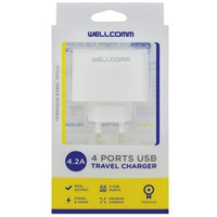 Charger Wellcomm 4 Ports Usb Travel Charger 4.2A Original Wellcomm