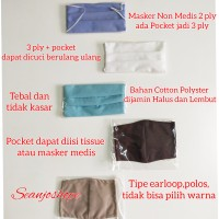 Masker Non Medis 3 ply + pocket Bisa Dicuci dan Di Refill