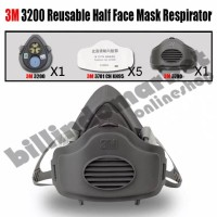 Masker 3M 3200 Set Half Face Respirator Single Cartridge + 5 Filter