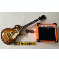 Gitar Gibson Les Paul Sunbrush Paketan Ampli Orange + Kabel & Strap