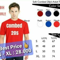 Kaos Polos Lengan Pendek Combed 20s - Paling Murah