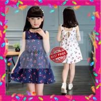 Gaun Pesta Anak / Dress Motif Cherry Perempuan Best Seller! - Uk 110 Biru