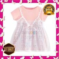 Dress Pesta Anak Perempuan Motif Renda Pita Best Seller! - Biru, M
