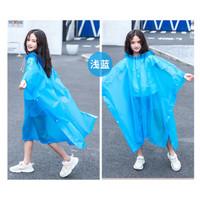 Jas hujan Anak Poncho EVA vinyl ringan + Hood tutup kepala 120-160cm