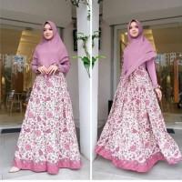 Baju Gamis Batik Wanita Modern/Gamis Syari'i dan Hijab GMF 08