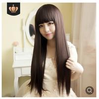 Wig Wanita Rambut Palsu Model Panjang Lurus Poni 036