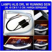 Lampu LED Alis Drl Flexibel Slim 45 Cm Waterproof with Running Sein