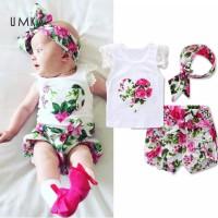 set 3pcs setelan baju bayi cewek lengan pendek import +bando cantik