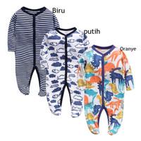 Bayi pakaian garis-garis Jumper Bayi Unisex Jumpsuit lengan panjang V9 - Orange, 3cm