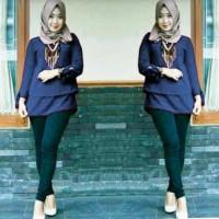 Fashion Muslim Atas.Blouse Wanita Marisca Navy.Blkng Kancing1 Fit-XL .