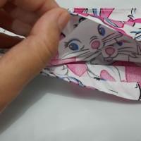 Masker kain katun 2ply lapis tissu tali karet motif kitty