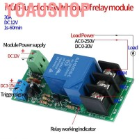 Yoaushop Modul Relay Timer ON / OFF DC 12V 0-60menit 30A Load 250VAC