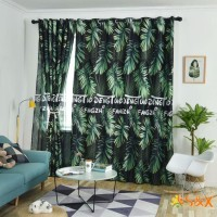S&X Rainforest Pattern Window Living Room Rod Block-out Curtain,