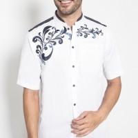 LGS Baju Koko Kemeja Bordir Batik Putih Slim Fit