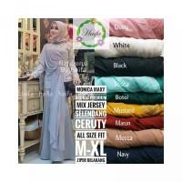 Gamis Murah Cantik Monica Maxy Brokat Premium Mix Jersey Selendang Cer