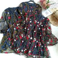 BROCADE HYCUBA IMPORT DRESS - Dress Pesta / Party Brukat Bunga Hitam