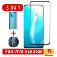 Paket 3 inc 1 Tempered Glass Vivo V19 2020 Anti Gores Kaca Warna