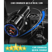 Car Charger QC3.0 Dual USB Ports Smart Charger - Charger Mobil