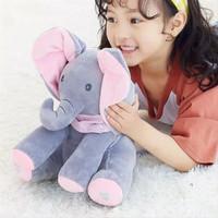 BEAR PEEK A BOO Boneka Beruang Cilukba Plush Singing Baby Toys - GAJAH ABU PINK